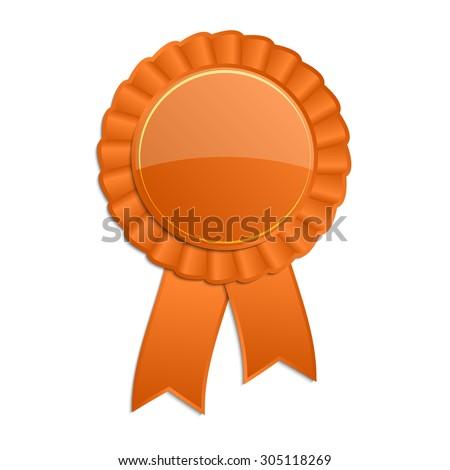 Orange blank award rosette with ribbon - stock vector