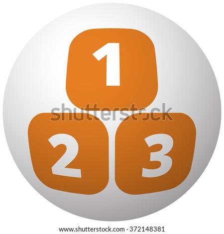 Orange 123 Blocks icon on sphere isolated on white background - stock vector