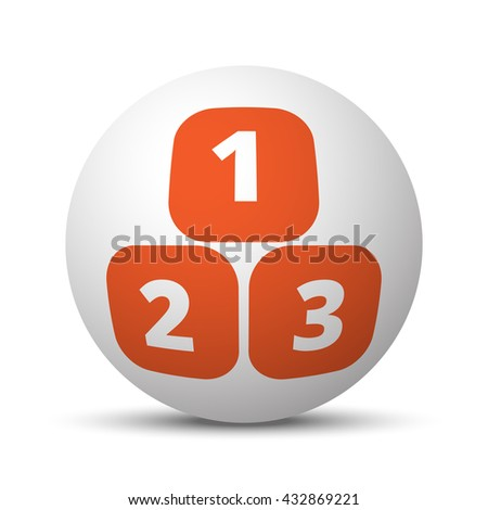 Orange 123 Blocks icon on white ball - stock vector