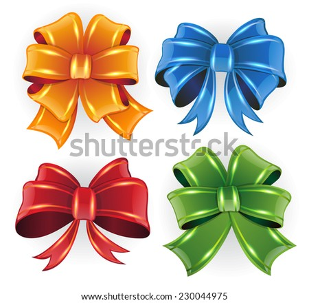 Orange, blue, red and green bows on white background - stock vector