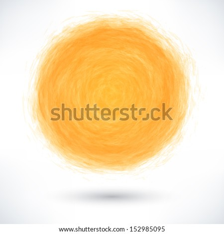 Orange brush stroke in the form of a circle with gray drop shadow on white background. Drawing created in ink sketch handmade technique. Vector illustration clip-art design element save in 10 eps - stock vector