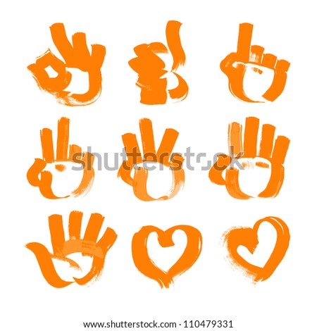 orange brush strokes - numerals- hands, heart and ok symbols painted textured brush