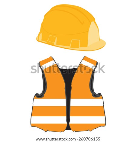 Orange building helmet and vest vector set, protective workwear, worker - stock vector