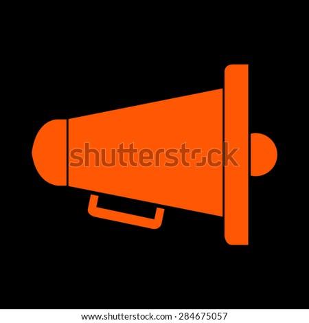 Orange bullhorn megaphone symbol vector icon stock vector hd orange bullhorn or megaphone symbol vector icon on a black background publicscrutiny Gallery
