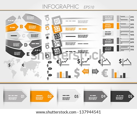 orange business world square infographic.  infographic concept - stock vector