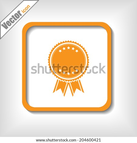 Orange button, vector icon - stock vector