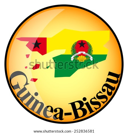 orange button with the image maps of button Guinea-Bissau in the form of national flag - stock vector