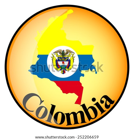 orange button with the image maps of Colombia in the form of national flag  - stock vector