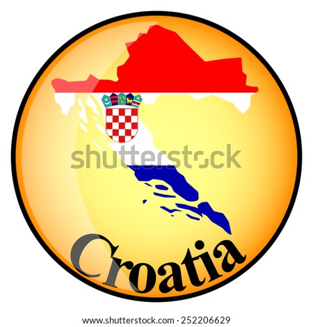 orange button with the image maps of Croatia in the form of national flag - stock vector