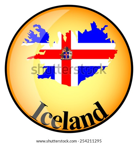 orange button with the image maps of Iceland in the form of national flag - stock vector