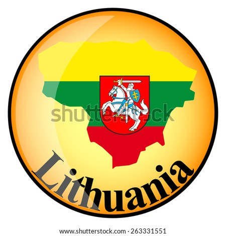 orange button with the image maps of Lithuania in the form of national flag - stock vector