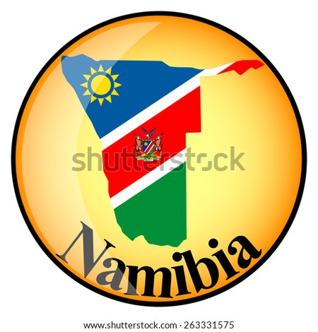 orange button with the image maps of Namibia in the form of national flag - stock vector