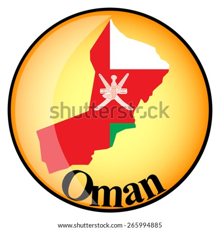 orange button with the image maps of Oman in the form of national flag - stock vector