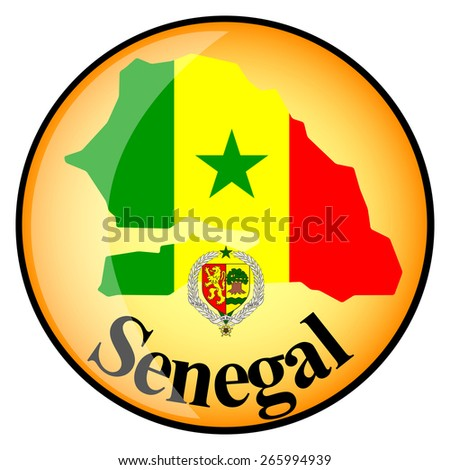 orange button with the image maps of Senegal in the form of national flag - stock vector