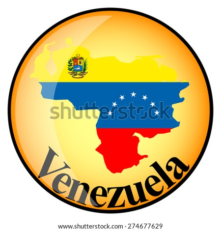 orange button with the image maps of Venezuela in the form of national flag - stock vector