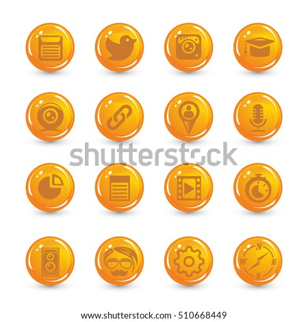 orange buttons set