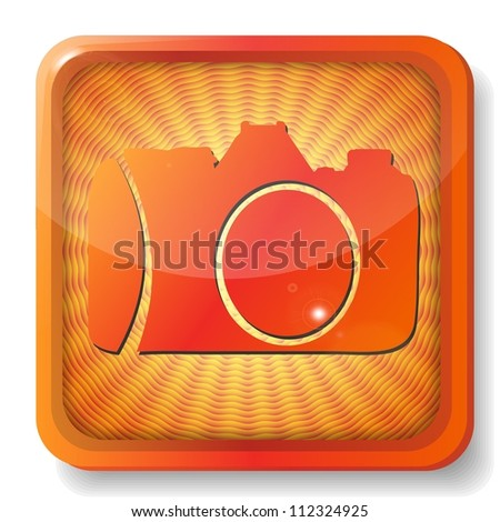 orange camera icon - stock vector
