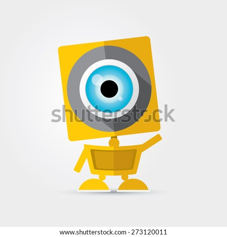 orange Cartoon Character Cute Robot Isolated on Grey Gradient - stock vector