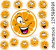 orange cartoon with many expressions - stock vector