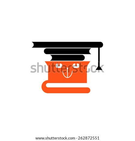 Orange cat carrying books like a graduation hat. Vector icon.