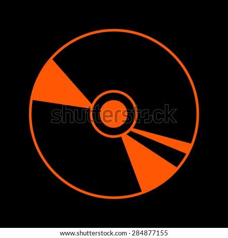 Orange CD on a black background - stock vector