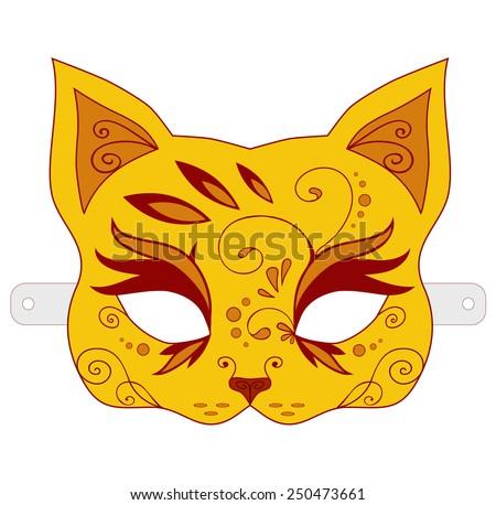 Orange children's mask cat. Vector version - stock vector