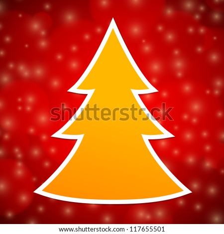 orange christmas tree with white outline on red abstract background - Orange Christmas Tree