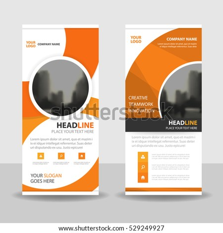 pop up banner templates orange circle business roll banner flat