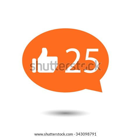 orange circle Like Counter Notification Icons with thumb up icon. vector illustration. mobile device. web elements  - stock vector