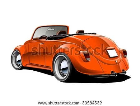 orange classic convertible - stock vector