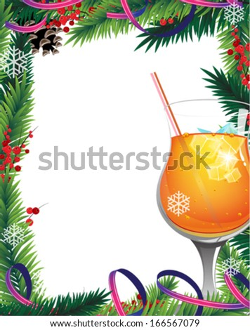 Orange cocktail with  ice cubes and red berries on white background