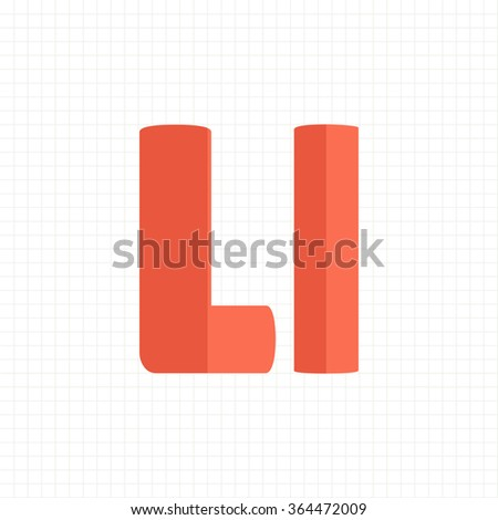 orange color alphabet letters L - stock vector