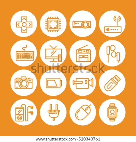 Orange color Set of vector icon graphic for Technology