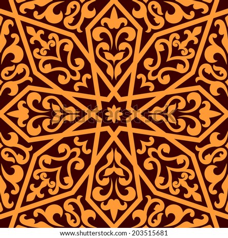 Orange colored Islamic or Arabic seamless pattern with elements of ornament isolated over brown color in horizontal format - stock vector