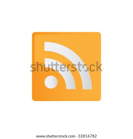 Orange Colored RSS Icon - stock vector