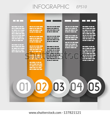 orange column infographic five options in big down rings. infographic concept. - stock vector