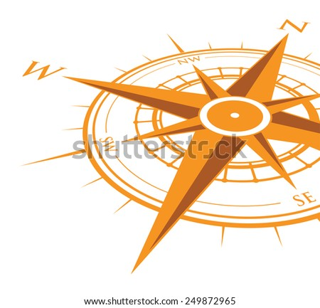 orange compass background - stock vector