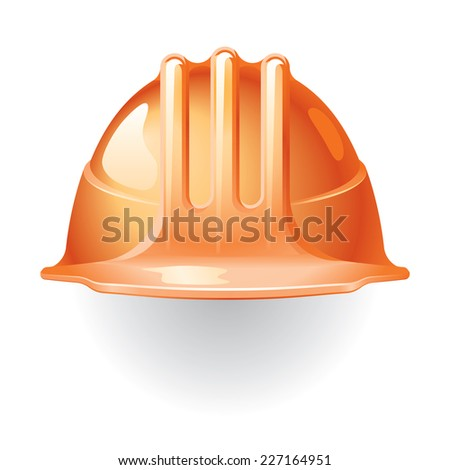 Orange construction helmet isolated on white. Eps8. CMYK. Organized by layers. Global colors. Gradients used. - stock vector