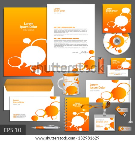 Orange corporate identity template with text bubbles. Vector company style for brandbook and guideline. EPS 10 - stock vector