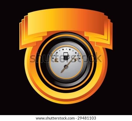 orange crest with gas gauge - stock vector