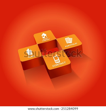 Orange cross background for companies with four icons for company presentation  - stock vector