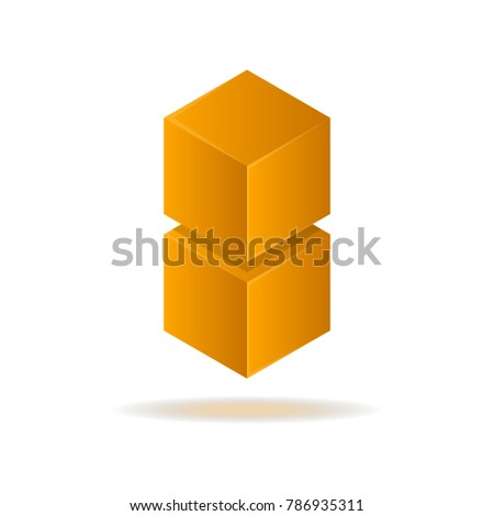 Orange cube abstract isolated element for logo design. Data visualization, corporate identity symbols, option information, diagram vector illustration