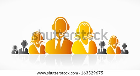 Orange customer service people group abstract silhouettes  - stock vector