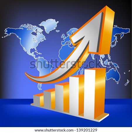 Orange 3D graph arrow move up fork stock and trade - stock vector