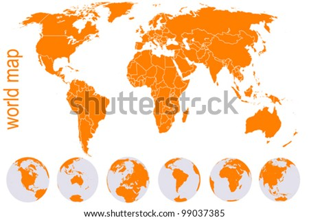 Orange detailed world map with Earth globes - stock vector