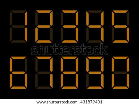 Orange Digital Numbers. Led lumbers for timer or alarm - stock vector