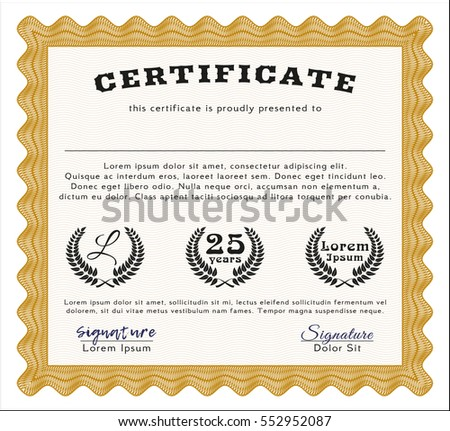 Orange diploma certificate template beauty design stock vector orange diploma or certificate template beauty design complex background detailed yelopaper Image collections