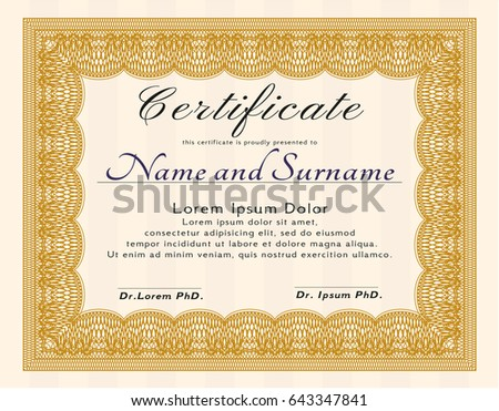 Phd diploma template model diploma certificate stock vector horizontal certificate completion template golden floral stock yadclub Image collections