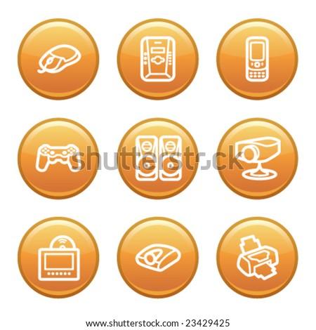 Orange disk set 21 - stock vector