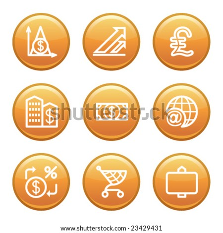 Orange disk set 23 - stock vector